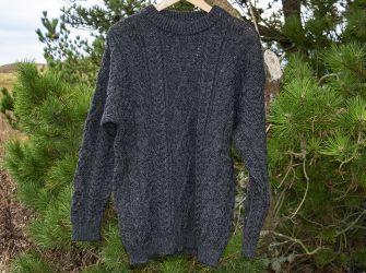 Aran Crew Neck Sweater in Charcoal