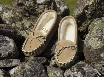 Moccasin Slippers (UK 3-13) in Brown or Beige