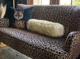 BOLSTER CUSHION IN MIMOSA TANNED SHEEPSKIN (available in white or brown)