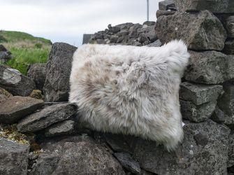 Oblong Sheepskin Cushion in Cappuccino