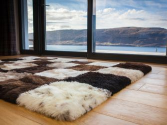 Mosaic Checkerboard Sheepskin Rug  (four sizes available)