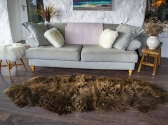 ICELANDIC RUSTY BROWN END-TO-END SHEEPSKIN RUG/THROW