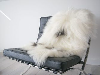 Icelandic White/Black Sheepskin rug/Throw 110cm x 80cm