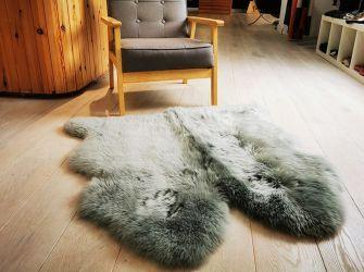Soft Grey Double Side-by-Side Sheepskin Throw/Rug