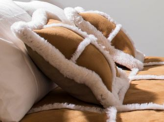 Spice Suede and Sheepskin Cushion