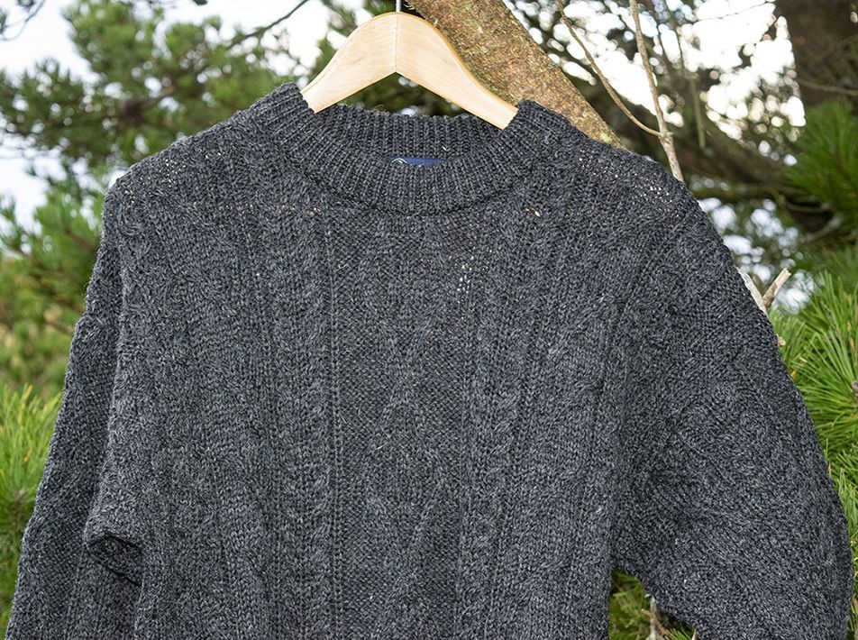 Aran Sweater Charcoal close-up