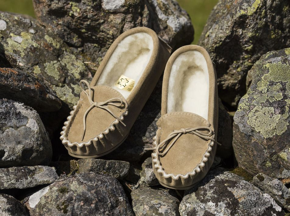 Moccasin Slippers (UK 3-13) Beige
