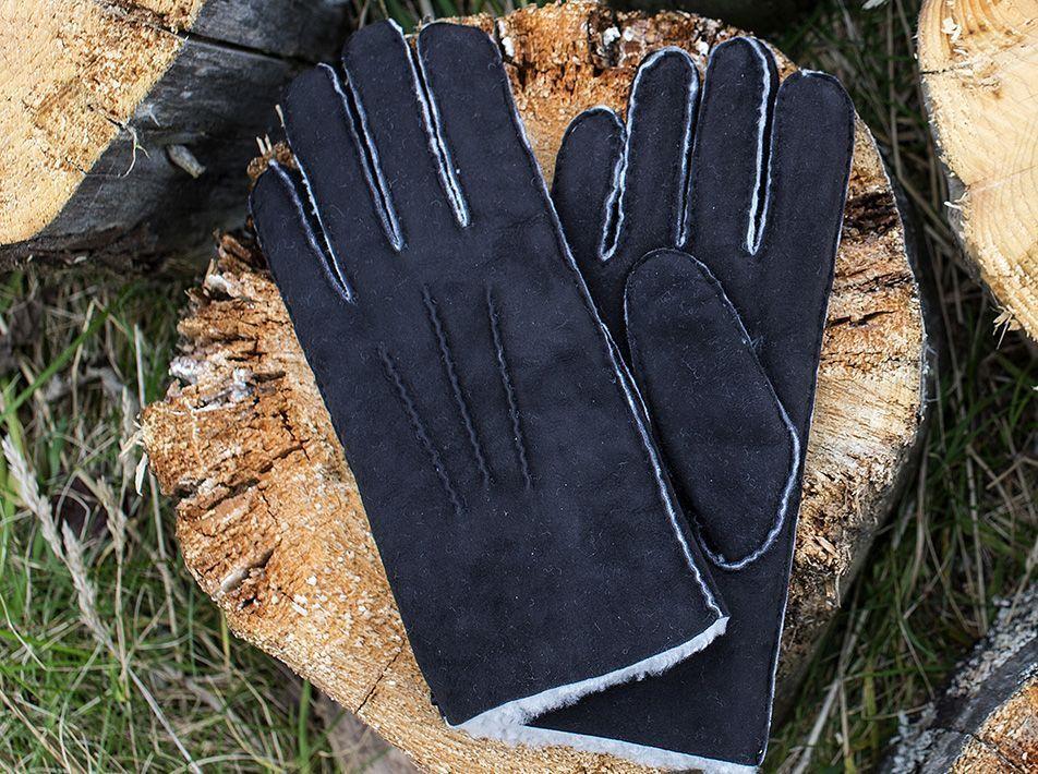 Men's Sheepskin Gloves in Black