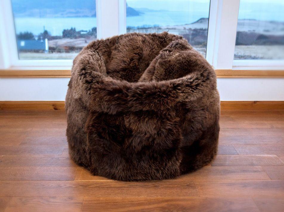 Large Brown Sheepskin Beanbag