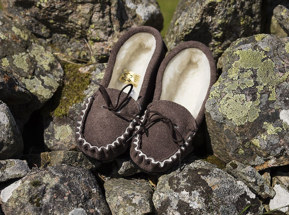 Moccasin Slippers (UK 3-13) Brown