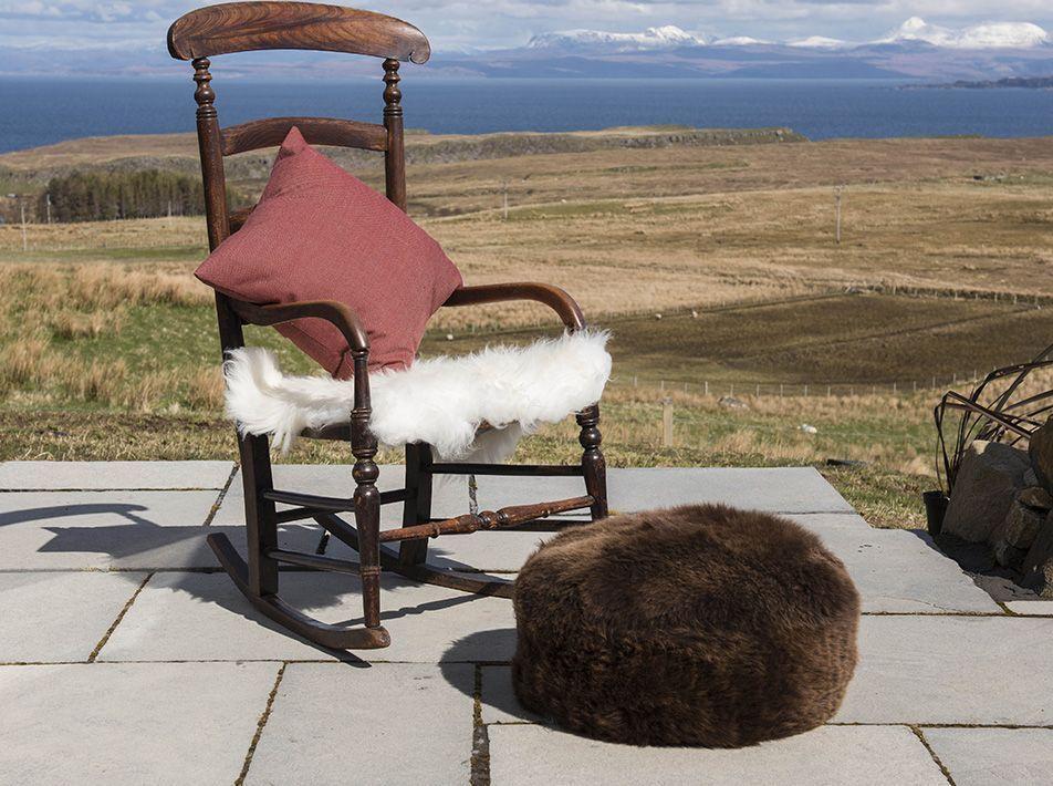 Sheepskin Pouffe in Natural Brown