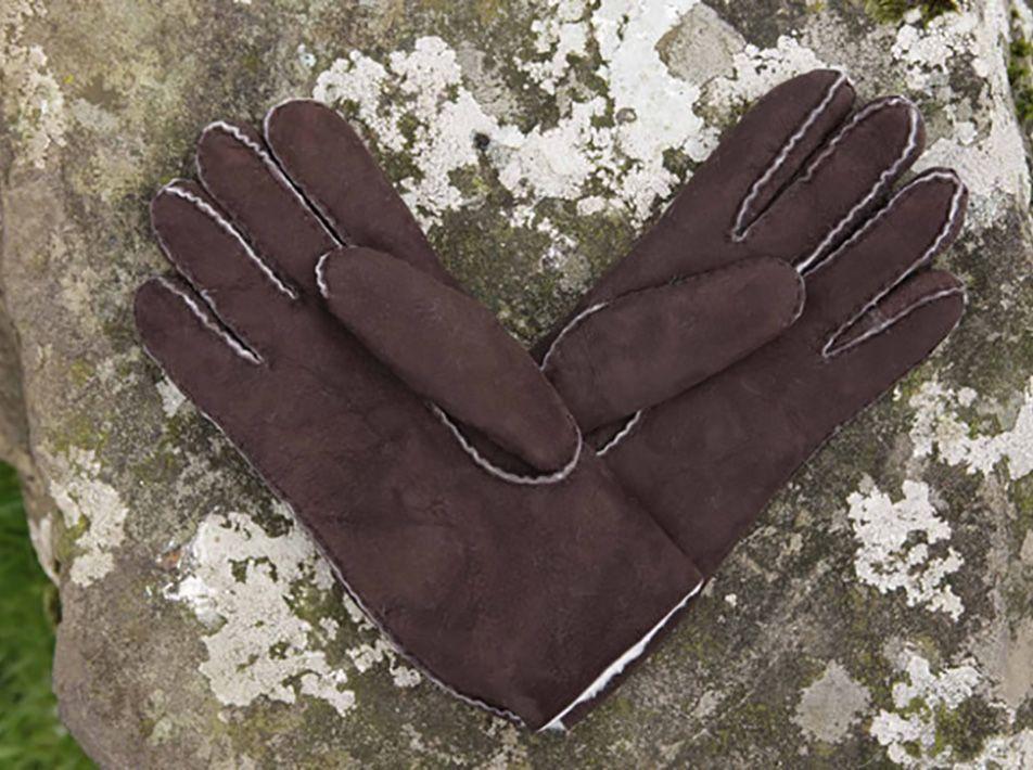 Men's Sheepskin Gloves in Brown