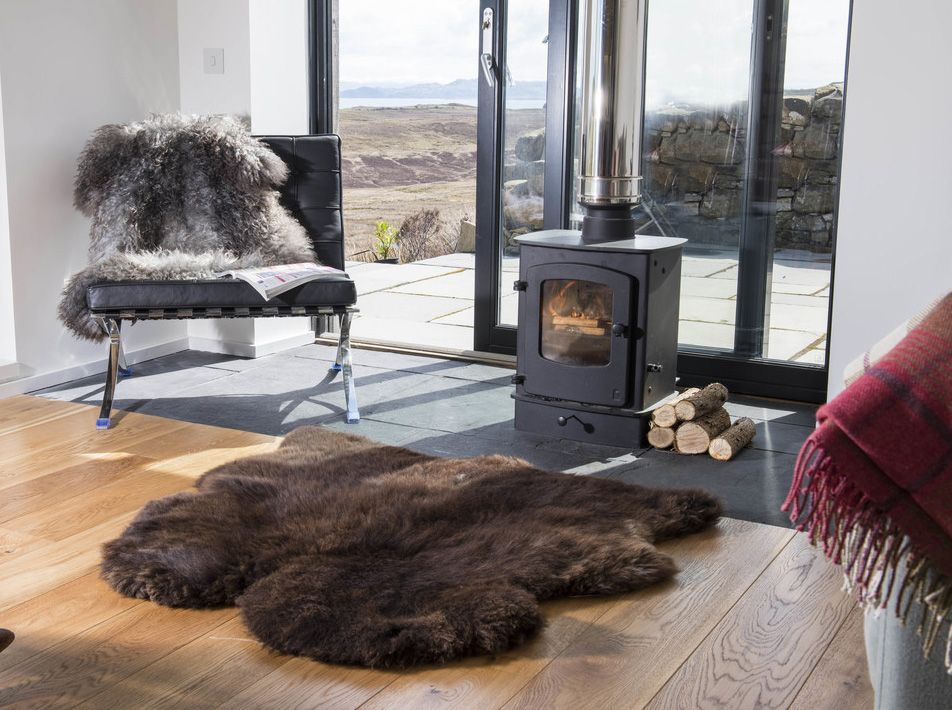 Natural Brown Double Side By Side Sheepskin Rug / Throw 105x110cms