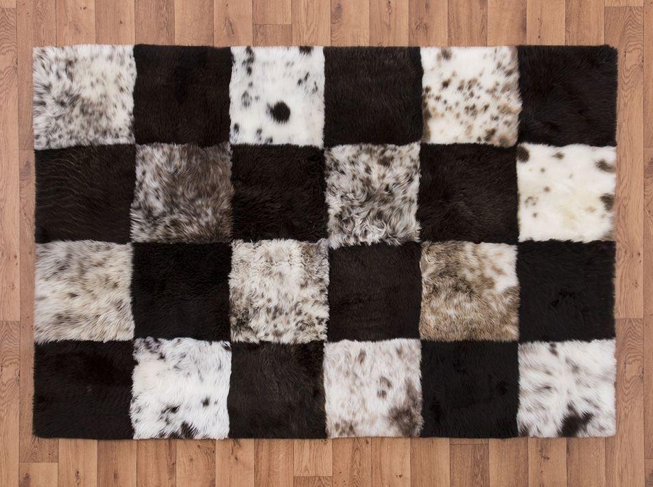 Mosaic Checkerboard Sheepskin Rug square ex 2