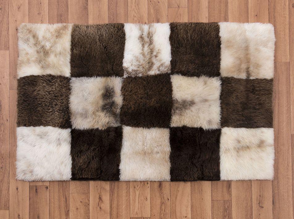 Mosaic Checkerboard Sheepskin Rug square ex 1