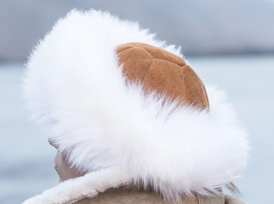 Cossack Hat in Tan & White