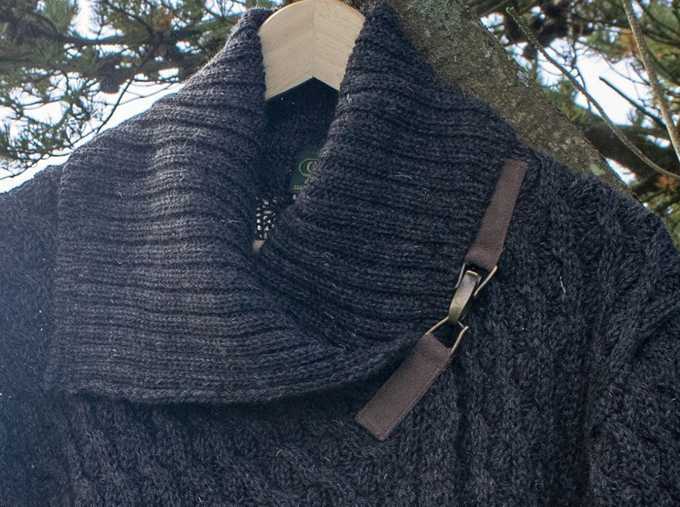 crossover cardigan in charcoal