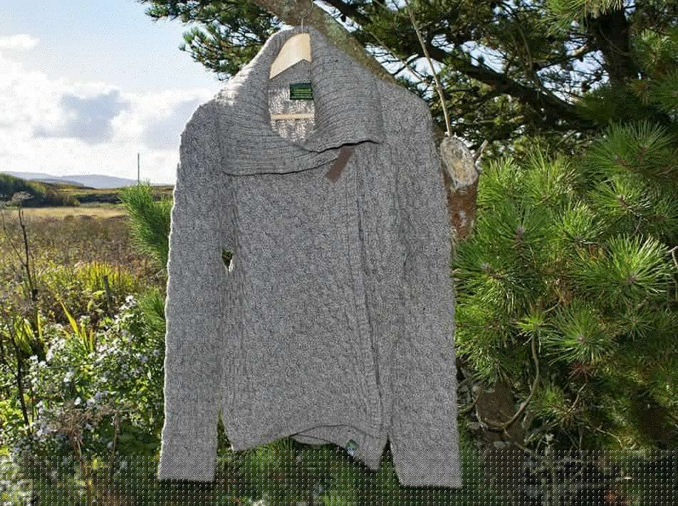 crossover cardigan in oatmeal