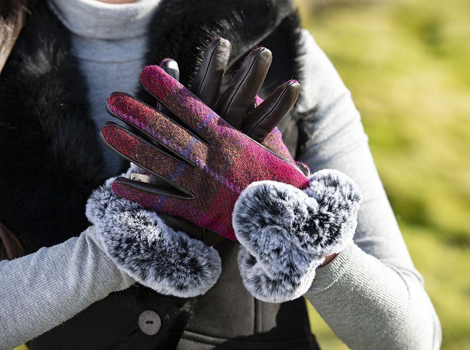 Ladies' Harris Tweed Fur Trim Gloves