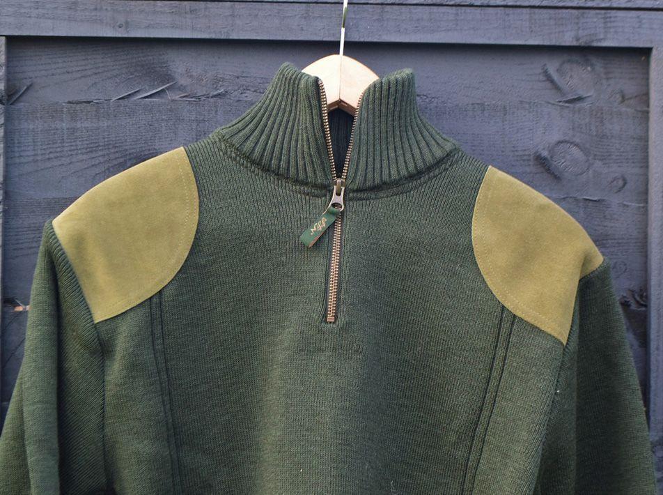 Half-zip olive men's sweater