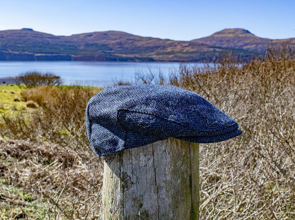 Harris Tweed Flat Cap Blue-Black