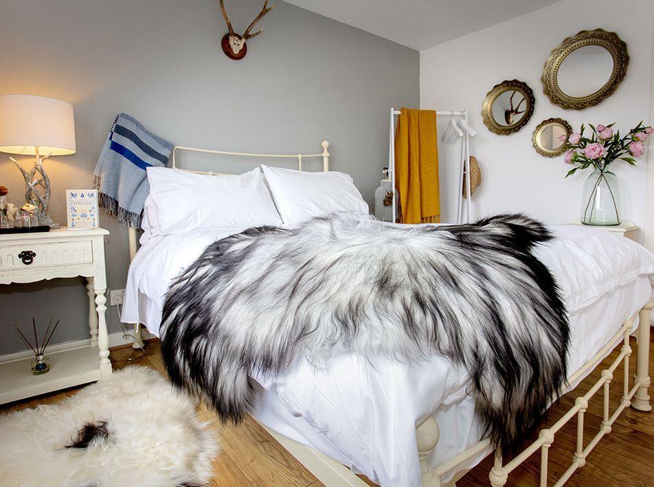 Icelandic Natural Grey Sheepskin Rug / Throw