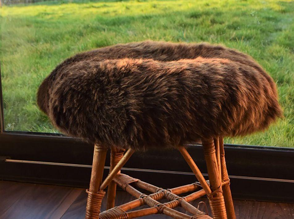 Large Round Sheepskin Seat Pad in Brown