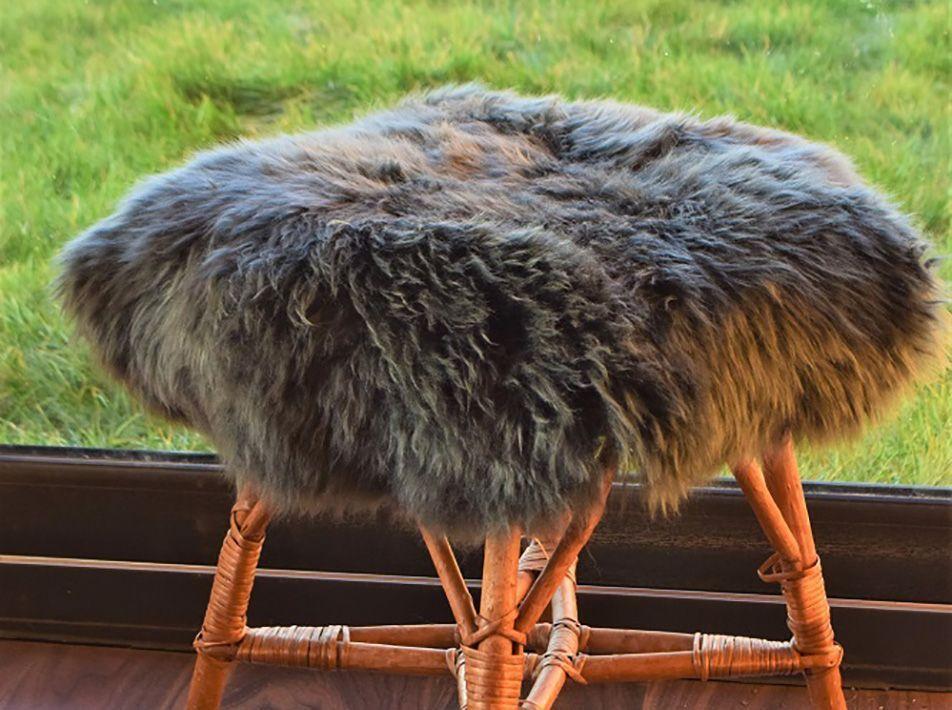 Large Round Sheepskin Seat Pad in Grey