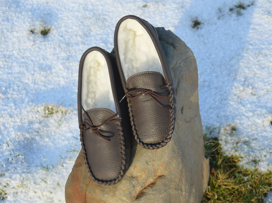 Leather Moccasin Wool Slippers (UK 3-13)