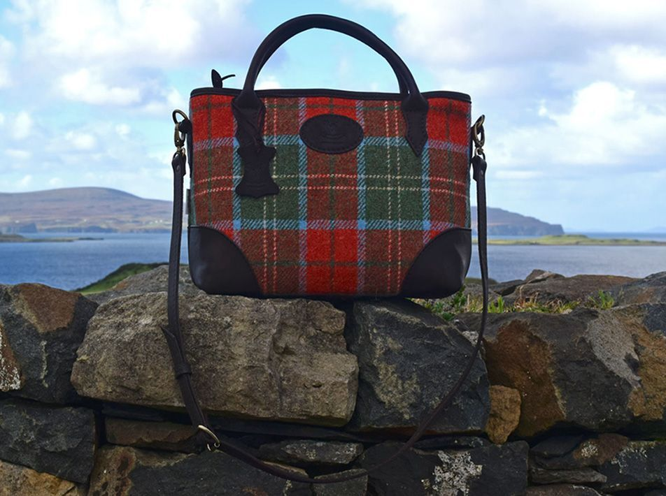 Lilly Leather and Tweed Handbag (choice of tweed colours)