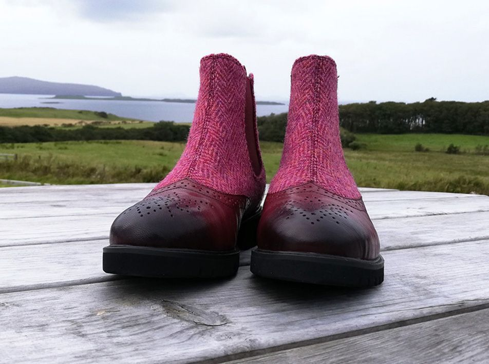 Harris Tweed Chelsea Boots maroo