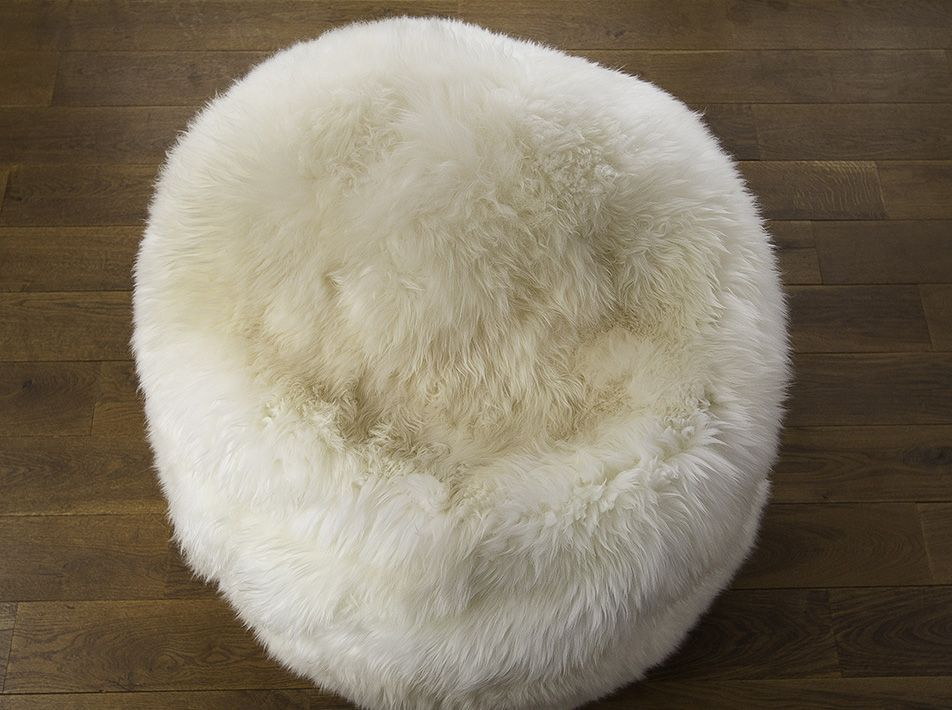 Large Pearl White Sheepskin Beanbag