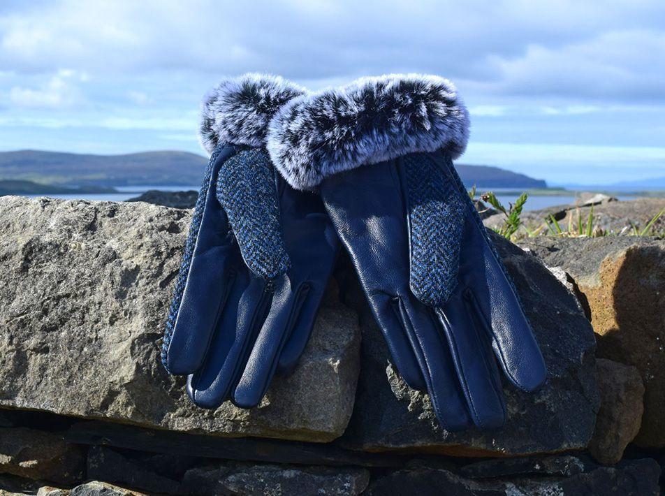 Ladies' Harris Tweed Fur Trim Gloves navy