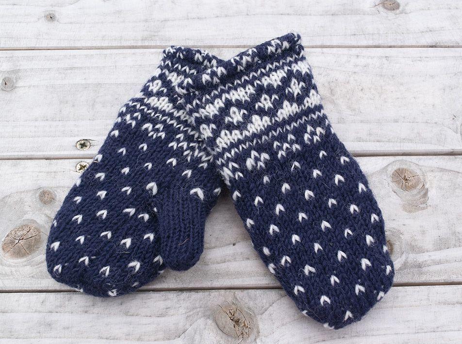 Kids' Woollen Mittens in Navy