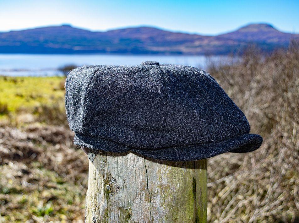 Newsboy tweed cap blue-black