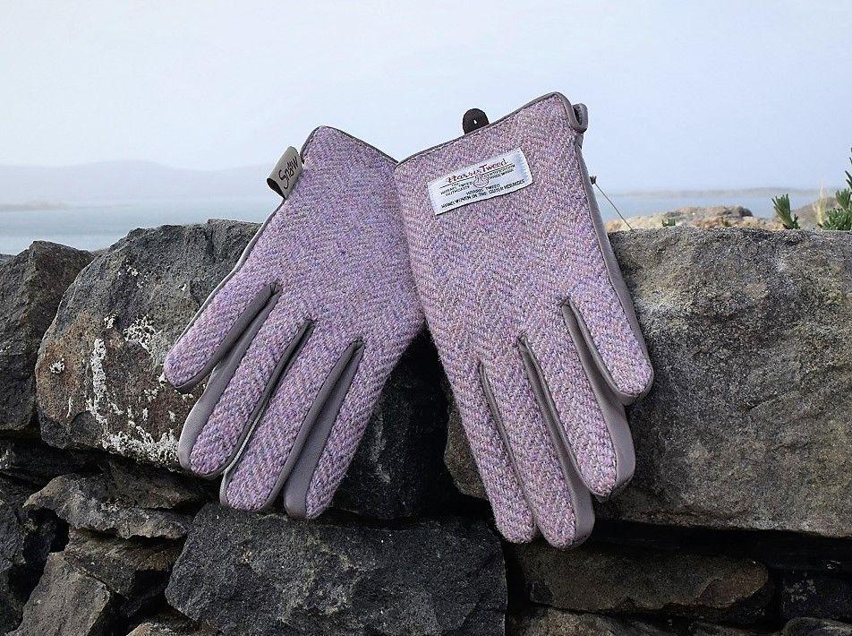Ladies' Harris Tweed Gloves pink Herring
