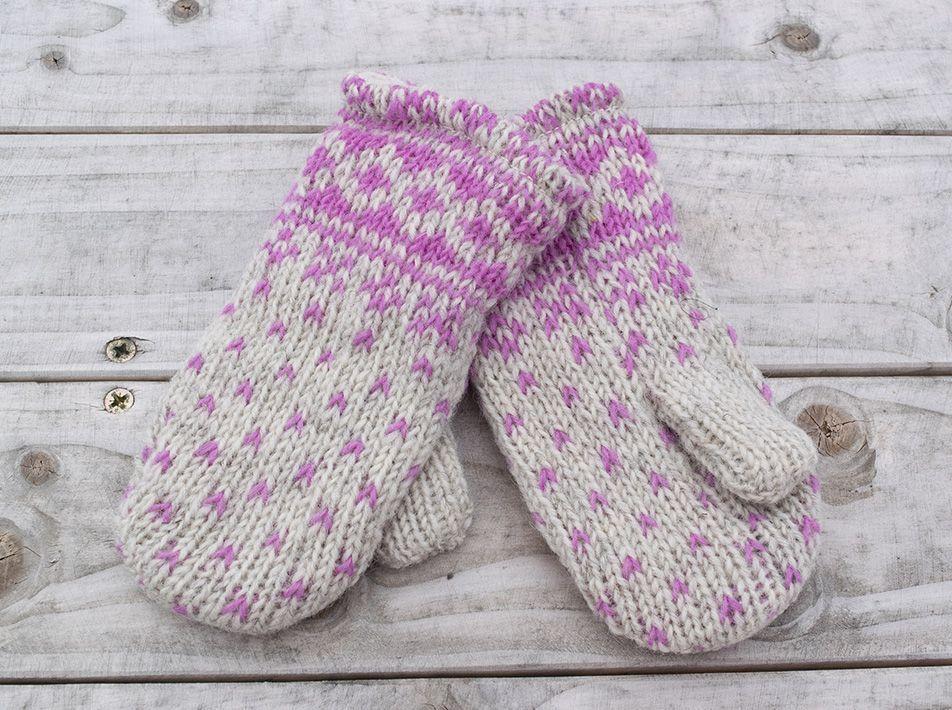 Kids' Woollen Mittens in Pink