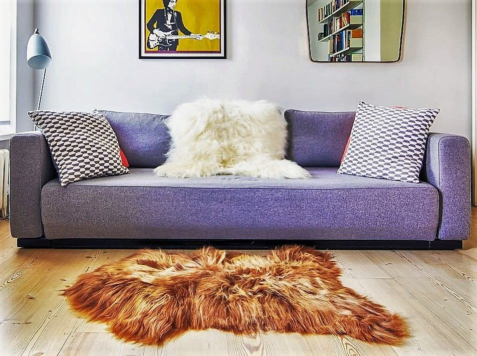 Icelandic Rusty Brown Sheepskin Throw / Rug 110x80cms