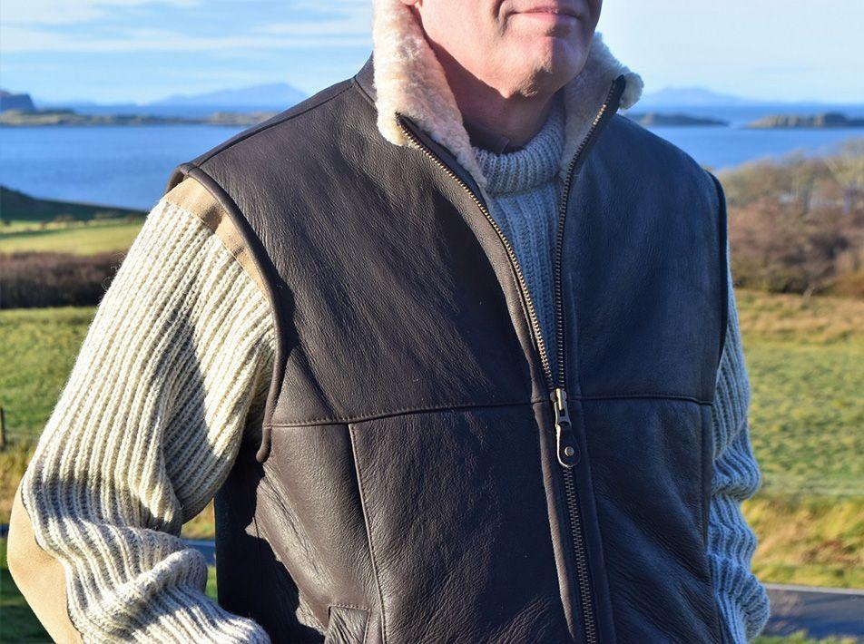 Harvey Sheepskin Gilet Brown