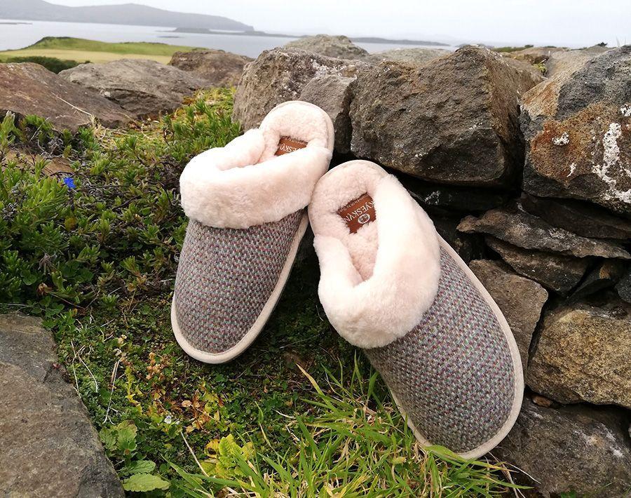Skye Tweed Mule Slippers