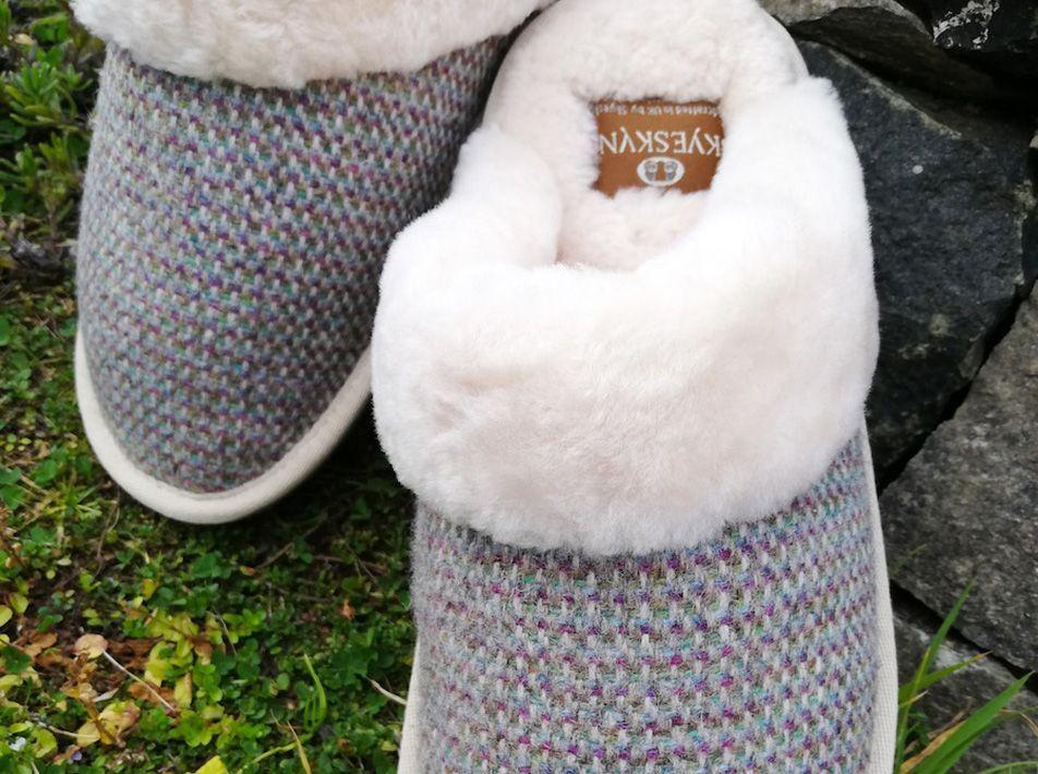 Skye Tweed Mule Slippers close-up