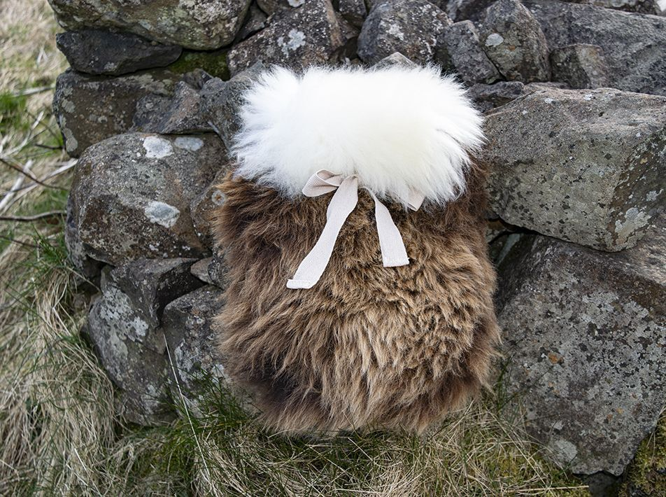Small Sheepskin Snuggle - Brown with White lid