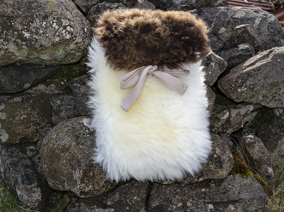 Small Sheepskin Snuggle - White with Brown Lid