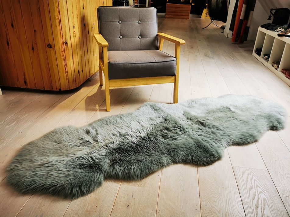 Soft Grey Double End-to-End Sheepskin Rug/Throw