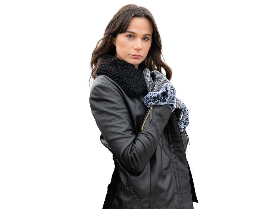 Sophia Leather and Sheepskin Jacket