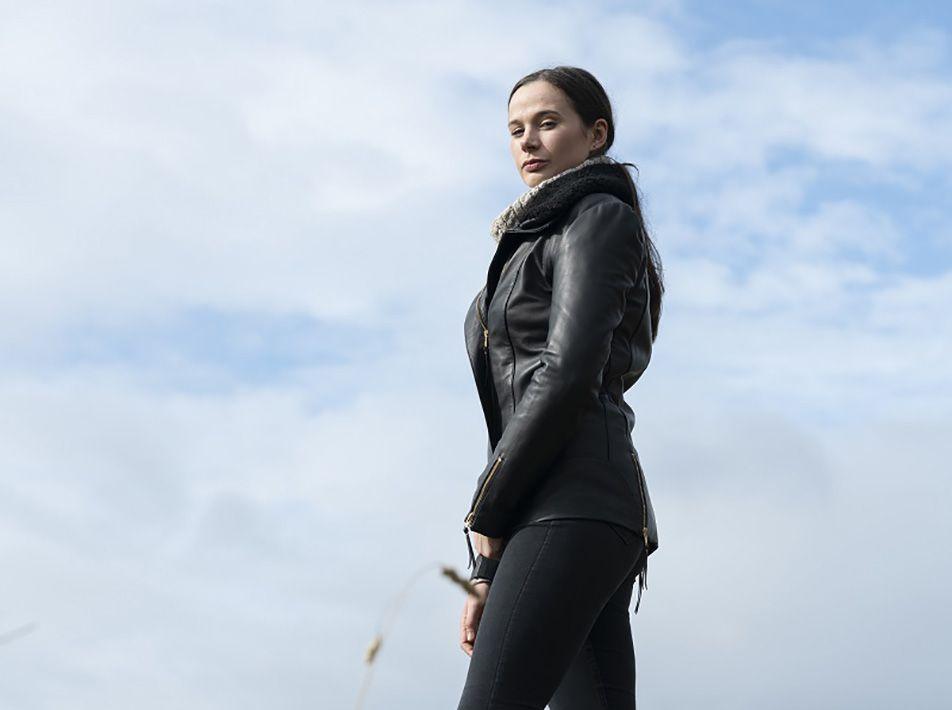 Sophia Leather and Sheepskin Jacket black