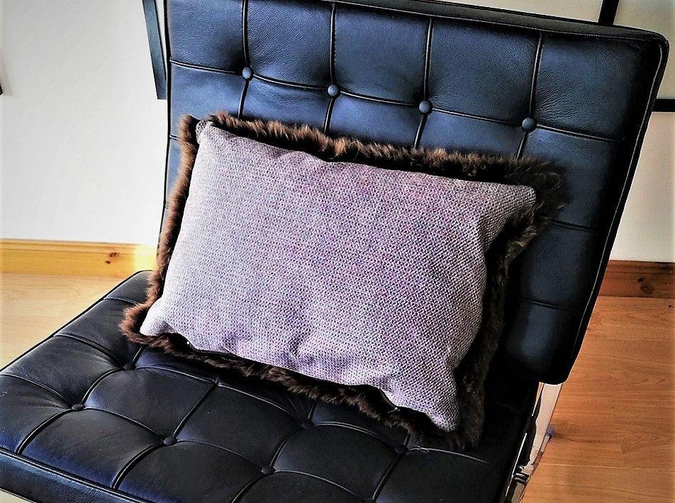 Skye Tweed Sheepskin cushion  brown