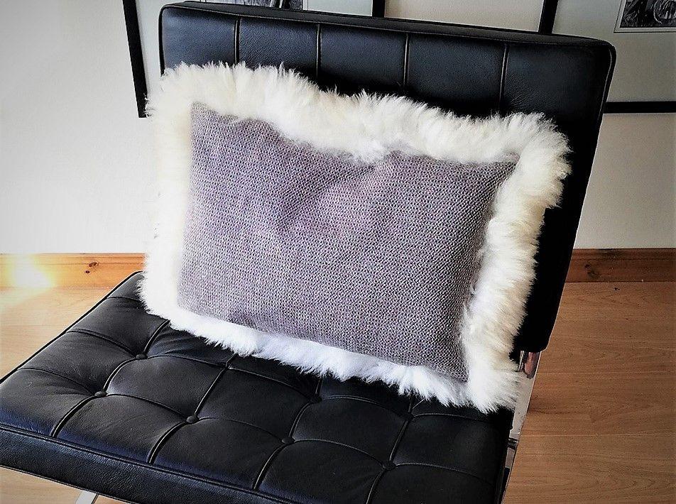 Skye Tweed Sheepskin cushion white