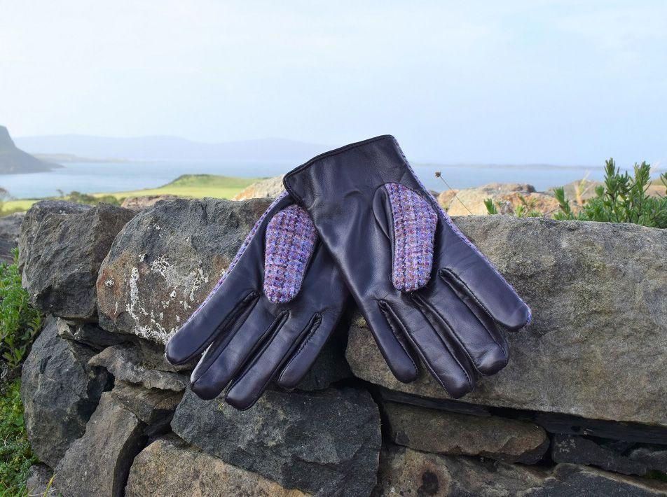 Ladies' Harris Tweed Gloves Violet reverse