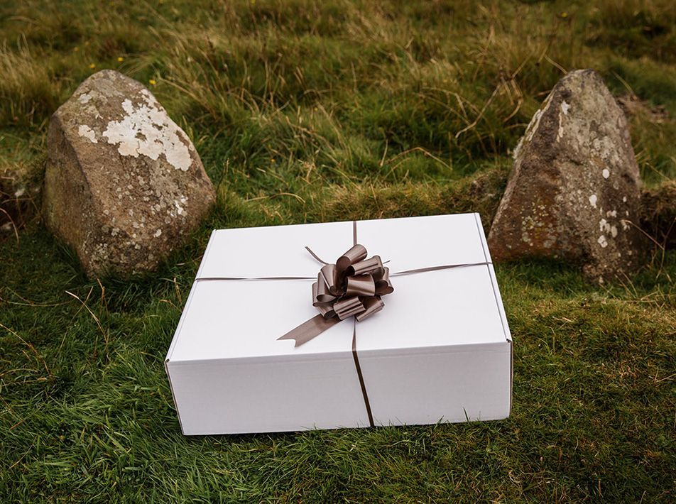 Wedding Gift Box with Natural Brown Sheepskins